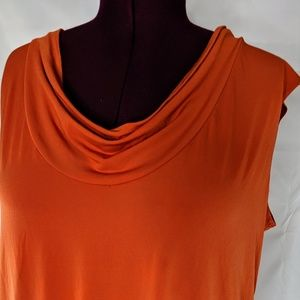 Orange Sleeveless Draped Front Tank